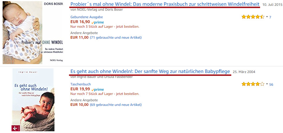 Ohne Windel E-Books auf Amazon