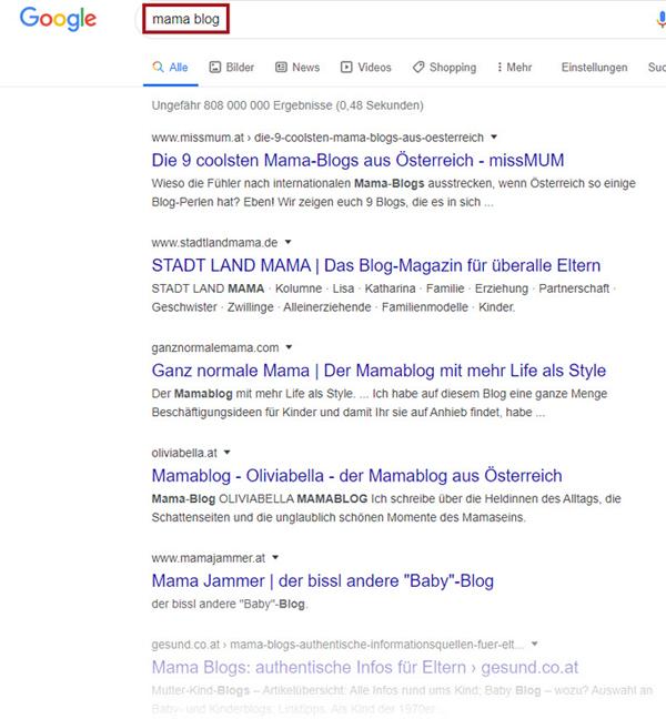 Google-Suche Mama-Blog