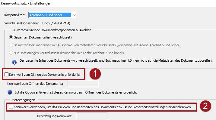 PDF Schutzart auswählen