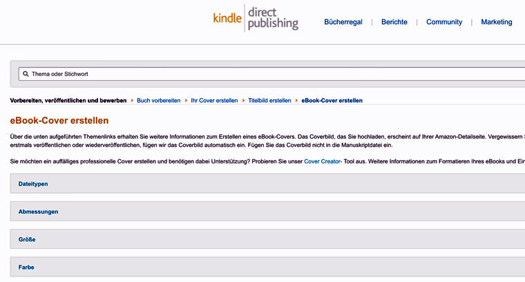 E-Book-Cover mit dem Amazon Cover-Creater erstellen