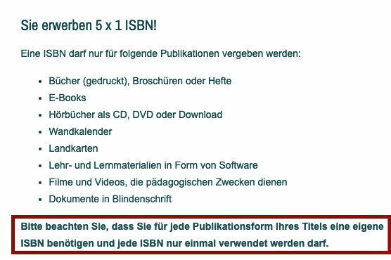 Eine ISBN pro Publikationsform