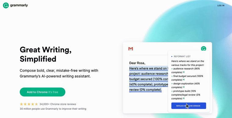 Schreibprogramm Grammarly