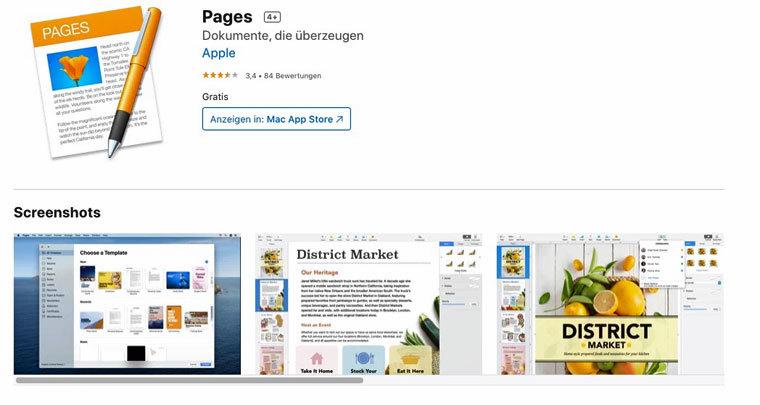 Textverarbeitungsprogramm Pages